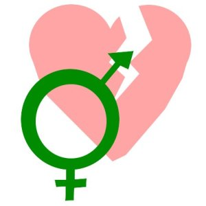 The transgender symbol on a broken heart